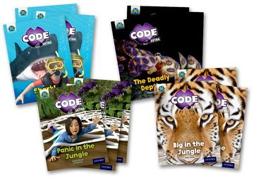 Project X CODE <i>Extra</i>: Green Book Band, Oxford Level 5: Jungle Trail and Shark Dive, Class pack of 12