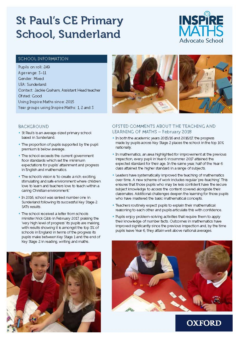 Case study from Inspire Maths Advocates St Paul's CE Primary, Sunderland (pdf)