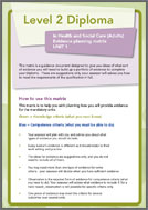 Health and Social Care Level 2 Diploma evidence planning logs unit 1 (PDF)