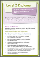 Health and Social Care Level 2 Diploma evidence planning logs unit 9 (PDF)