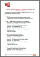 Diploma in Leadership for Health and Social Care Level 5 Tutor Support VLE contents (PDF)