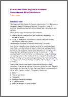 Functional Skills English In Context: Construction E3 - L2 tutor notes (PDF)
