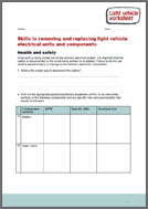 Replacing Light Vehicle Electrical Units and Components worksheet (PDF)