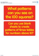 Numicon Times Tables 2-10 on a 100 square (PDF)