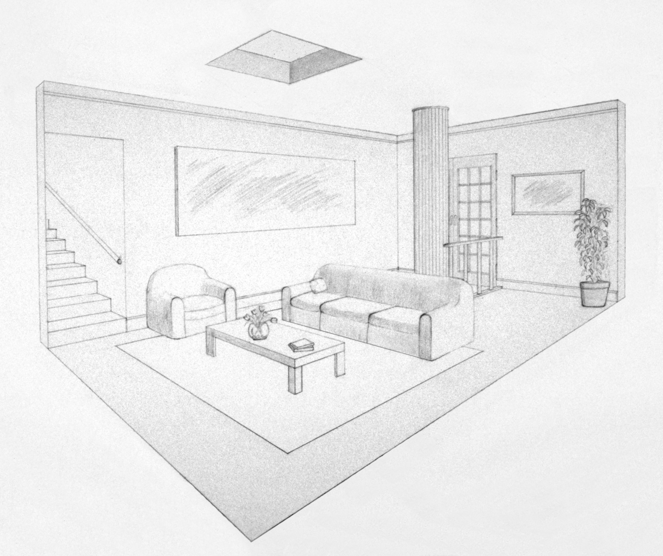 2 point perspective living room for Living room 2 point perspective
