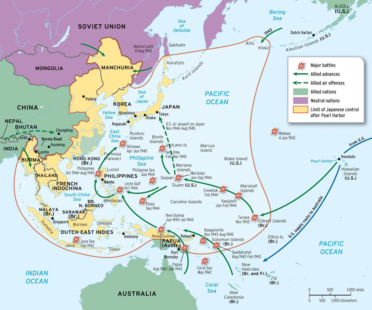 Chapter 24 map 24 2 map of the pacific theater of war wwii publicscrutiny Image collections