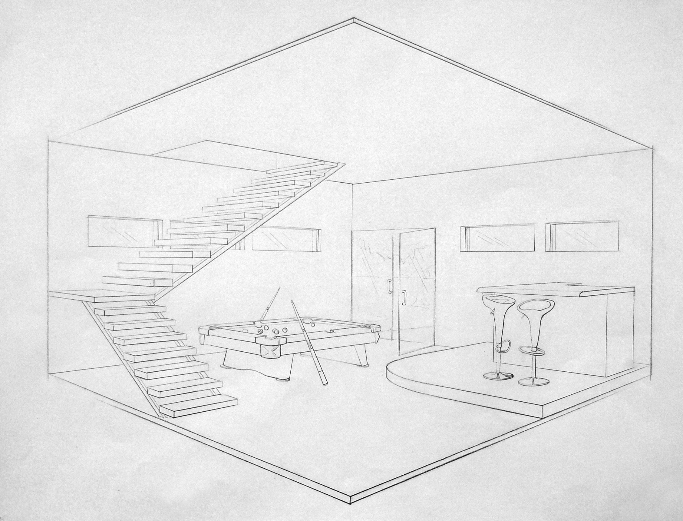 Living Room 2 Point Perspective drawing 2 point perspective 2 point perspective living room