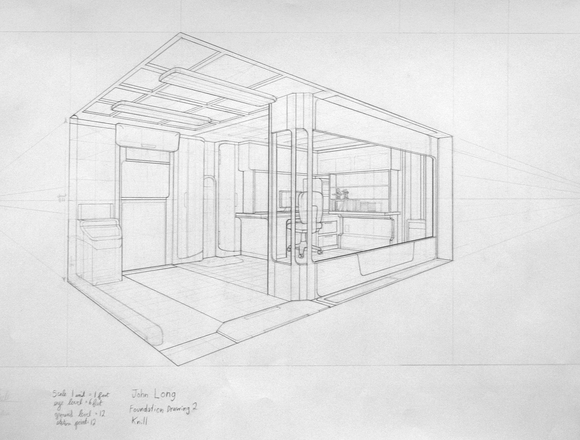 2 point perspective interior drawings for Living room 2 point perspective