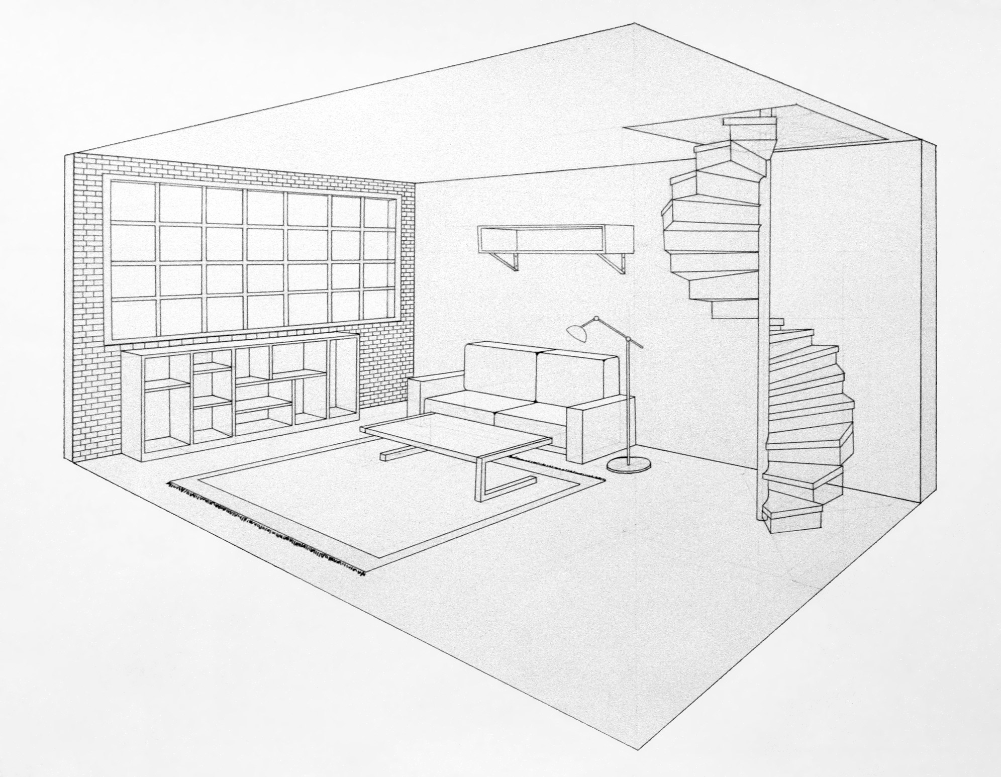 2 point perspective living room drawing in single by a rob for Living room 2 point perspective